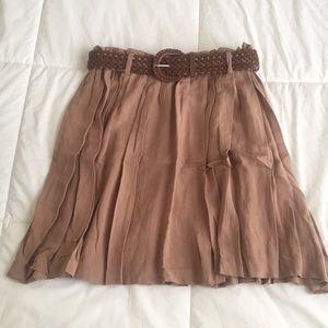 Forever 21 Tan Swing Skirt w/ Belt